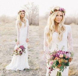 Wholesale Sweetheart Mermaid Style Long Dresses - 2017 Romantic New Summer Boho Lace Cheap Mermaid Wedding Dresses Long Sleeves Appliques Sweetheart Garden Country Style Long Bridal Gowns