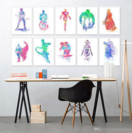 Wholesale Batman Sheets - Original Watercolor Super Hero Avenger Batman Kids Room Decoration Wall Art Abstract Pop Movie Poster Print Canvas Painting Gift