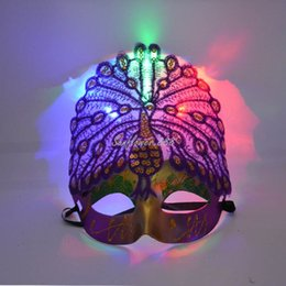 Wholesale Lady Peacock Mask - Wholesale-Ladies LED Light Up Peacock Masks Mask for Mardi Gras Masquerade Party Halloween Women Girl