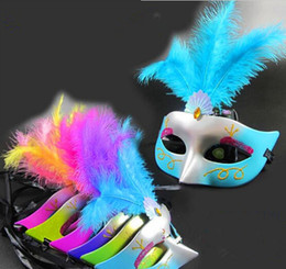 Wholesale Decorations For Masquerade - halloween fashion half face women masks dance party masquerade props party masks with feather decoration 50 pcs free shipping