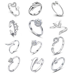 Wholesale Dragonfly Silver - 925 Sterling Silver Jewerly Rings Dolphins Dragonfly Wings Of The Angel Love Fox Butterfly Opening Adjustable Ring For Women