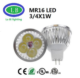 Wholesale Led Mr16 Dc 3w - free shipping MR16 Spotlight 3x1W Real 4x1W LED MR16 Bombillas Spot Lights with 4leds Bulbs Spotlights Downlight 12V DC 2 years Warranty