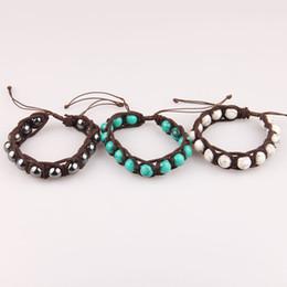 Wholesale Gem Weave - Natural turquoise garnet bracelet Unisex Woven bracelets hand row fashion gem crystal handmade jewelry free shipping