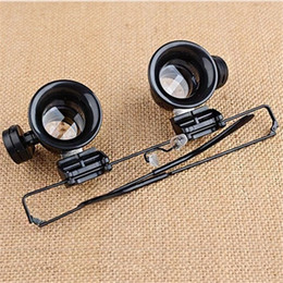 Wholesale Watch Repair Glasses - 20X Watch Repair Dental Loupes Binocular Glasses Magnifying Glass With LED Lights Eyewear Magnifiers with Box packing F586