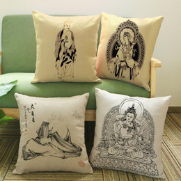 Wholesale Nice Hotel - Wholesale- Pillow Case Hot 1PC Vintage Style Buddha Design Printing Pattern Nice Square Zipper Throw Pillowcase Unique Pillow Cover 2017