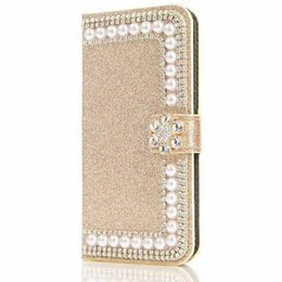 Wholesale Pearl Iphone Case Cover - For iPhone 8 Plus X 7 6S 5S Luxury TPU Glitter Rhinestone Pearl Leather Wallet Case Bling Bling Pouch Card Slot New Cover