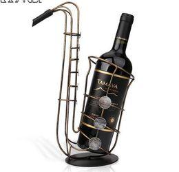 Wholesale Brass Sax - Metal Sax Wine Rack Beautiful Crafts Artwork Gift Wine Holder Figurines Creative Wine Bottle Stand Practical Decoration