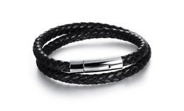Wholesale Leather Double Layers Bracelet - Wholesale Titanium Braided Bracelets Double Layer Leather Bracelets Classical Handmade Leather Knitted + Stainless Steel Men Jewelry