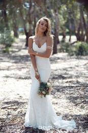 El último diseño romántico sin espalda sirena encaje vestidos de novia sexy correas espaguetis barrer tren vestidos de novia vestido de noiva cuello en V caliente desde fabricantes