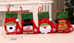 Wholesale Candy Gift Animal - Christmas Stocking 4 Types Christmas Sequin Socks Gifts Sacks Candy Bags Cartoon Stocking Christmas Tree Decor Santa Claus Snowman