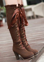 Wholesale Tall High Heel Waterproof Boots - European and American style round head high heel Martin boots waterproof taiwan shoes women boots suede lace-up tall boots yzs168