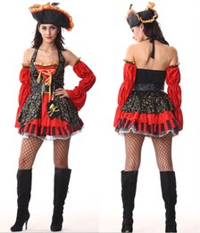 Wholesale Sexy Cosplay Skirt - Cosplay Sexy Pirate Halloween Costumes For Women Adult Pirate Costume Waist Cincher Top Skirt party Uniforms Outfits