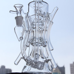 Wholesale hill oil - Two function New recycler glass bong hot bongs roots TORO water pipe boro bong Hill side glass oil rig break dab dabs recycler Killa glass