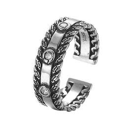 Wholesale Antique Cz Ring - 5pcs lot Vintage Antique 925 Sterling Silver Jewelry with Stones Adjustable Rings for Women CZ Crystal Engagement Wedding Band