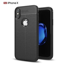 Wholesale Auto Notes - Litchi Stria Leather Pattern Lines TPU Case Auto Focus Shockproof Back Cover For iPhone 8 10 7 6 6S Plus X iPhoneX Galaxy Note 8 S8 S8+