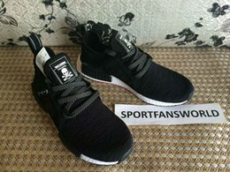 Wholesale Hotsale Shoes - NMD MASTERMIND 2016 Hotsale Japan NMD Boost Nipples on Bottom Black Fashion Running Shoes Sneakers Men Size 40-45 US11 With Receipt and Box