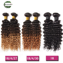 Wholesale Brazilian Deep Curl Hair Weave - Ombre Indian Hair Deep Curls 100% Human Hair Weave Brazilian Peruvian Malaysian Deep Wave Curly 3Pcs Ombre Extension 1B&1B 4 27&1B 4 30