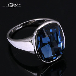 Wholesale Blue Middle Finger - Big Blue Crystal Vintage Finger Solitaire Rings 18K White Gold Plated Imitation Gemstone Brand Jewelry For Women Wholesale DFR123