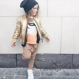Wholesale Baby Jackets Leather Girls - INS Babies jackets 2016 autumn winter new boys girls gold zipper jackets toddler kids leisure coats children Leather coat outwear A9423