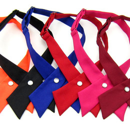 Wholesale crossover ties - New Fashion Crossover bowties 8 colors Solid Color Cross bow tie for boy girl neck ties Christmas Gift A0264