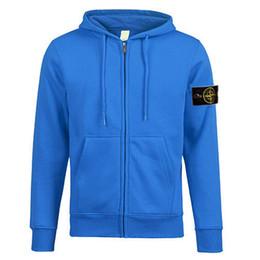 Wholesale Fashion Zipper Pulls - New Winter island Men's long sleeve Round neck sweater stoned Sweaters 330g cotton Hooded pull velvet sweater zipper coat