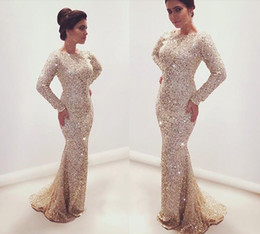 Wholesale Long Glitter Formal Dresses - Glittering 2016 Mermaid Evening Dresses Full Crystals Beads Sequins Jewel Neck Long Sleeves Sweep Train 2017 Bling Bling Formal Prom Gowns