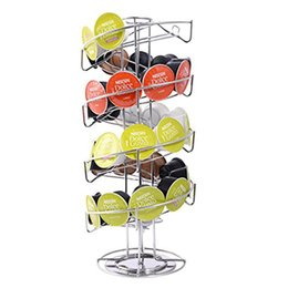 Wholesale Iron Stocking Holders - One Piece Of High Quality NEW Spiral 30 Capsule Coffee Pod Holder Tower Rotate Stand Storage Rack Useful