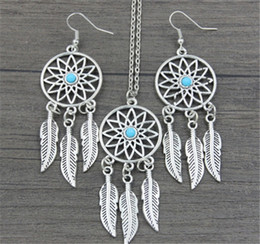 Wholesale turquoise necklace for wedding - Dream Catcher Earrings & Necklace Jewelry Sets For Women Statement Necklace Jewelry Bohemia Dreamcatcher Feather Luck Necklace Lover Gift A1