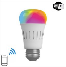 Wholesale Multi Color Led Bulbs E27 - New Arrival 6W Wireless WIFI LED Bulb Lamp RGBW Multi-color Brightness Dimmable Remote Control By Smart Phone APP iOS Android System