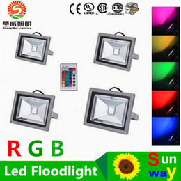 Wholesale Garden Floods - 10W 20W 30W 50W Led RGB Floodlights Warm Natrual Cold White Red Green Blue Yellow Outdoor Led Flood Garden Light Waterproof + Remote Control