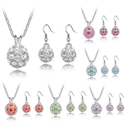 Wholesale Disco Ball Sterling Set - 2016 Silver Plated Top Quality 10mm CZ Crystal Clay Disco Ball Shamballa Necklace Earring Women Wedding Jewelry Set Party Dress Gift