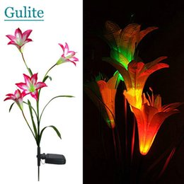 Wholesale Led Light Garden Flowers - Wholesale-Pink Solar LED Lily Flower Light Color Changing Energy Saving Lamps Outdoor Garden Path Yard Decoration 3 LED Flower Party Lamp