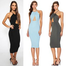 Wholesale Cheap Shipping Bodycon Dresses - 2016 womens sexy tight fitted sling slip dresses bodycon night out club wear women backless halter dresses cheap clothes free shipping