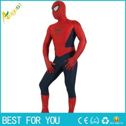 Wholesale spiderman spandex bodysuit - Superhero Adult Spiderman Costume Adult Halloween Cosplay Lycra Spandex Full Bodysuit Plus Size Spiderman Costume For Men