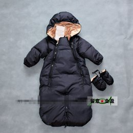 Wholesale Duck Down Sleeping - The new baby down jacket Pure color long sleeve sleeping bag thickening white duck warm down outdoor clothing
