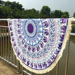 Wholesale Paisley Towel - Long Tassel Indian Mandala Tapestry Boho polyester Round Beach Throw Towels Yoga Mat Wall Hanging Large Shawls Throw Blanket BKT095