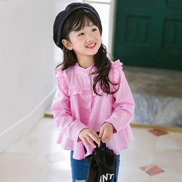 Wholesale Korean Kids Girls Long Sleeve Tops - Korean Girls T-shirts Tops Long Sleeve Vertical Striped Girl's Shirt Tee Casual Sweet Girl Tops Shirts Kids Clothing T-shirt Blue pink A7526