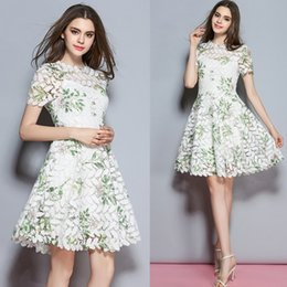 Wholesale Soluble Lace - Hot sale new fashion European and American female summer high soluble flowers crochet lace Slim printing two-piece women dress