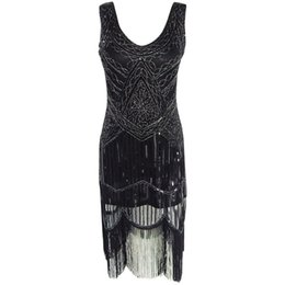 Wholesale Dress Women S Sequin Black - Plus Size Sexy Party Dress Robe Femme 1920s Gatsby Flapper Sequin Tassel Embroidery Midi Summer Dress 2017 Vestidos De Festa