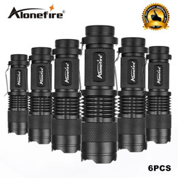 Wholesale Flash Drive Led Light - 6PCS lot Mini LED Torch 7W CREE XPE Q5 LED Flashlight Adjustable Focus Zoom Flash Light Lamp Free Shipping Wholesale SK68