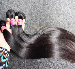 Wholesale Hair Extensions Dhl Free - Brazilian Malaysian Peruvian Indain Hair Weaves Virgin Hair Weft Silky Straight Natural Color Hair Extensions 3pcs lot DHL Free Shipping