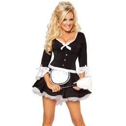Wholesale Lingerie Bow Outfit - Wholesale-2016 Newest Design Bows And Lace Cuffs Busk Waist Cincher Apron Skirt Sexy Lingerie Maid Outfit French Maid Costume L1409