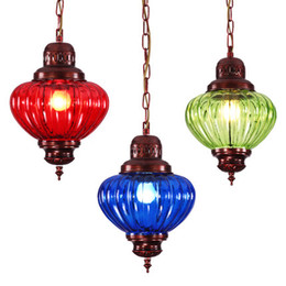 Wholesale Stained Glass Pendant Lamps - Vintage iron stained glass chandelier creative bedroom balcony library cafe bar lamp personality circular dining-room lamp