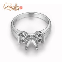 Wholesale Round Ring Mount Setting - Wholesale-6.5mm and 2.8mm Round Three Stones Solitaire Engagement Semi Mount Ring Setting