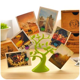 Wholesale Magnetic Photo Holders Wholesale - Wholesale-Creative Cute Lucky Tree Desktop Memo Clips Photo Note Holder Multifunctional Decoration Magnetic Plastic Table Card Holders