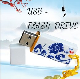 Wholesale Usb Thumb Drive 128gb - Chinese Style Ceramics USB Flash Drive Thumb Drive USB Memory Stick 8G 16G 32G 64GB 128GB Gift With Retail Packaging Jump Drive