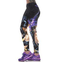 Wholesale Euro Style Women - NEW Euro Style black milk sexy women batman kiss wonder women 3D printing high waist running fitness sport leggings Pants YT2044