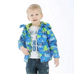 Wholesale Waterproof Clothes For Kids - Kids Clothes Korean Boys Girls Coats Anchor Dot Shark Outerwear Windproof Waterproof Breathable Hoodeds 4-10Y Jackets for Children Clothing