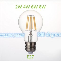 Wholesale Glass Bulb Shell - Newest Design Retro LED Filament Light lamp E27 2W 4W 6W 8W 110V   220V G45 A60 Clear Glass shell vintage edison led bulb