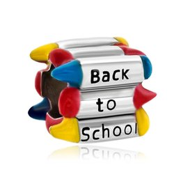 Wholesale Colorful Spike Bracelets - Large Hole Metal Beads Colorful Crayons Back To School European Bead Designer Charm Bracelet NB28